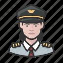 airline, avatar, captain, female, pilot, white icon