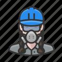 asbestos, avatar, female, hardhat, woman, worker icon