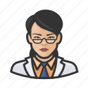 asian, avatar, doctor, face, healthcare, medical, woman icon