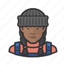 african, avatar, face, fisherman, person, woman icon
