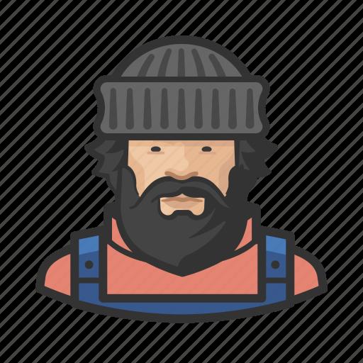 asian, avatar, face, fisherman, male, man icon