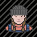 avatar, caucasian, face, female, fisherman, person, woman icon