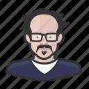 avatar, bald, glasses, mustache, person, woman