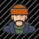 asian, avatar, fisherman, overcoat, sweater icon