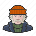 avatar, fisherman, mustache, overcoat, sweater icon