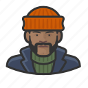 african, avatar, fisherman, overcoat, sweater icon