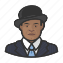 african, avatar, bowler hat, pinstripe, pinstripe suit icon