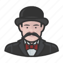avatar, bowler, hat, inspector, mustache icon
