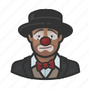 african, avatar, clown, hobo, man, sad