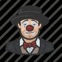 asian, avatar, clown, hobo, man, sad icon