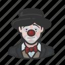 avatar, clown, hobo, sad, woman icon