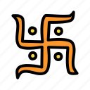hindu, holy, indian, religion, swastik, swastika icon