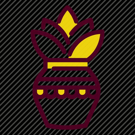 hindu, holy, kalash, kumbh, leaves, mango, temple icon