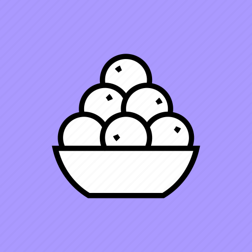 bowl, delicacy, dessert, indian, laddu, sweet, treat icon