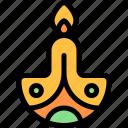 candle, diwali, faith, hindu, india icon