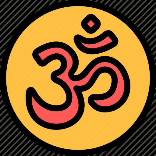 diwali, faith, hindu, india, om icon