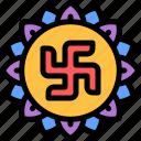 diwali, faith, hindu, india, swastika icon