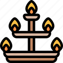 candelabra, diwali, faith, hindu, india icon