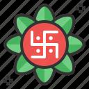 diwali, festival, hindu, swastika icon