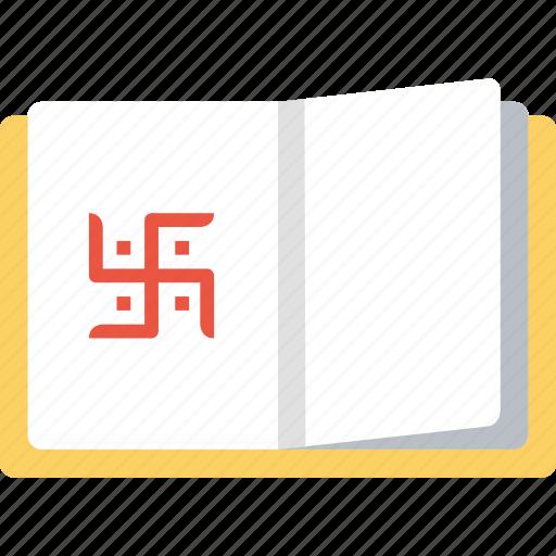 book, chopada, diwali, festival, hindu, indian, swastik icon