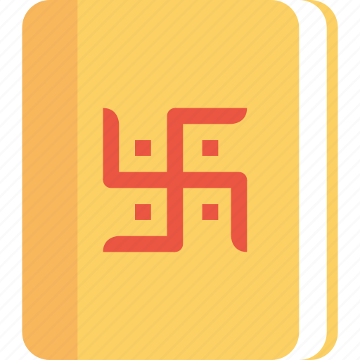 book, chopada, diwali, festival, hindu, indian, swastik icon