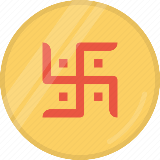 coin, diwali, festival, hindu, indian, laxmi, swastik icon