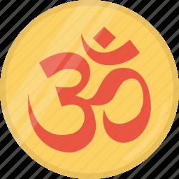 coin, diwali, festival, hindu, indian, om, omkar icon