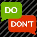 bubble, checklist, do, don't icon