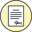 contract, document, file, page, signature, text icon
