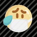 cough, cry, doctor, mask, medical mask, sad, virus icon