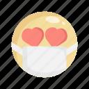 doctor, emoji, fall in love, in love, mask, medical mask, virus icon