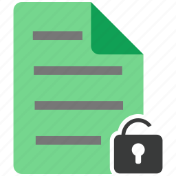 document, file, note, unlock icon