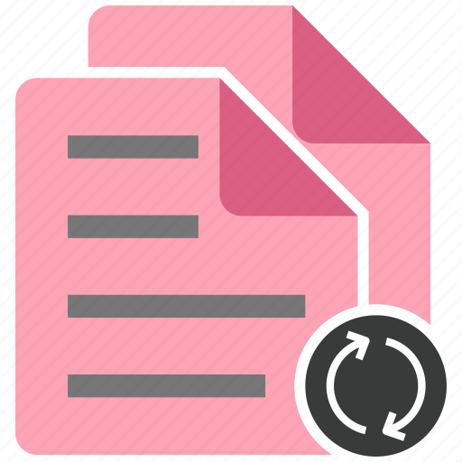 document, file, note, refresh, share icon