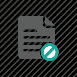 document, error, file, prohibit, warning icon
