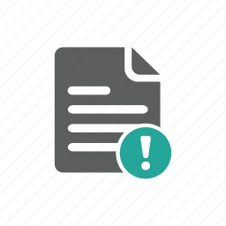document, error, exclamation mark, file, important, tag, warning icon