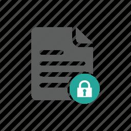 document, file, lock, password, security icon