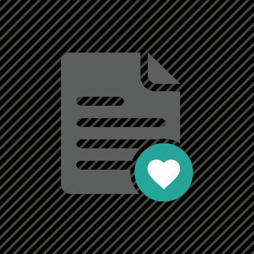 document, favorite, file, heart, love icon