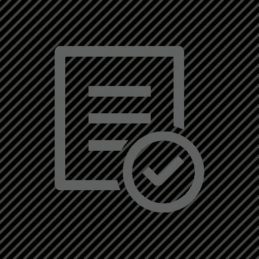 check, check mark, correct, document, file, letter, paper icon