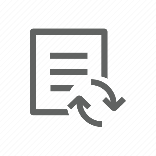 arrow, document, file, letter, sync, synchronize, update icon
