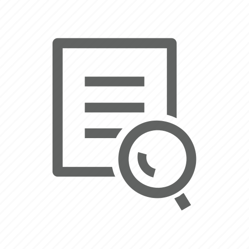 document, file, letter, magnify, magnify glass, paper, search icon