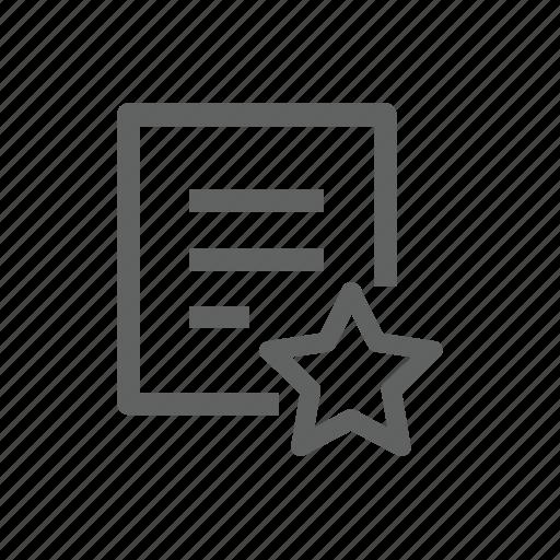 document, favorite, file, paper, report, star icon