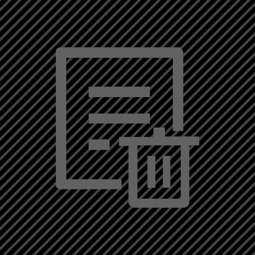 delete, document, file, paper, remove, trash, trash bin icon