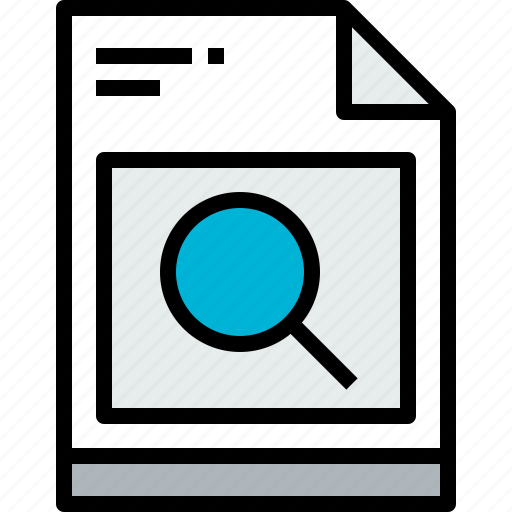 business, file, page, paper, report, search icon