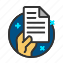 document, file, hand, report icon