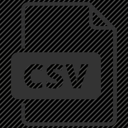 csv, extention, file, type icon