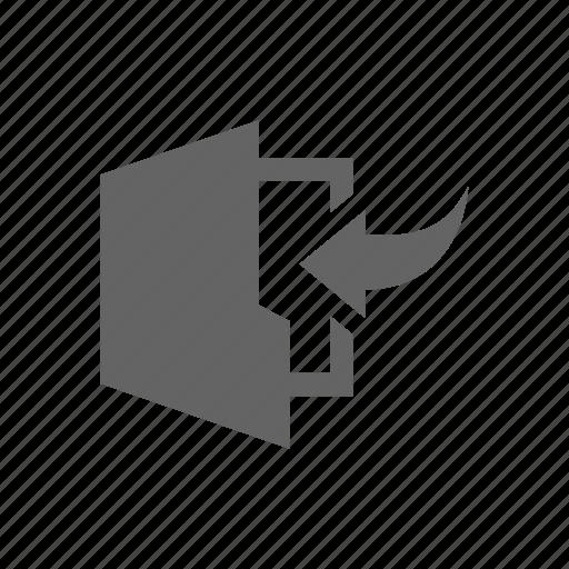 arrow, document, folder, in icon