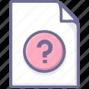 document, file, help icon