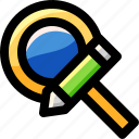 find, glass, magnifying, pen, pencil, search, zoom