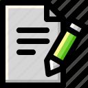 document, file, page, paper, pen, pencil, write