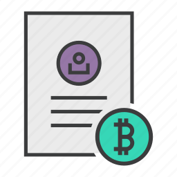 account, bitcoin, details, document, profile, shopping, user icon